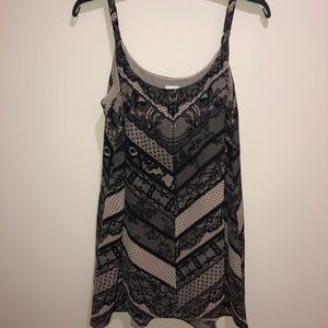 CAbi Sz M Medium Black/Nude Lace Print Tank